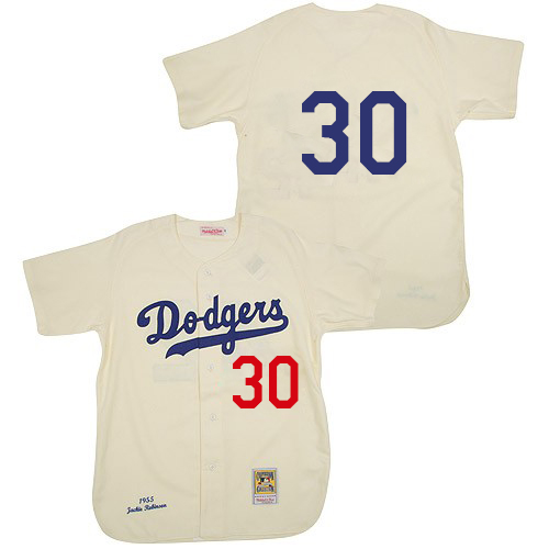Men's Mitchell and Ness 1955 Los Angeles Dodgers #30 Maury Wills Authentic Cream Throwback MLB Jersey