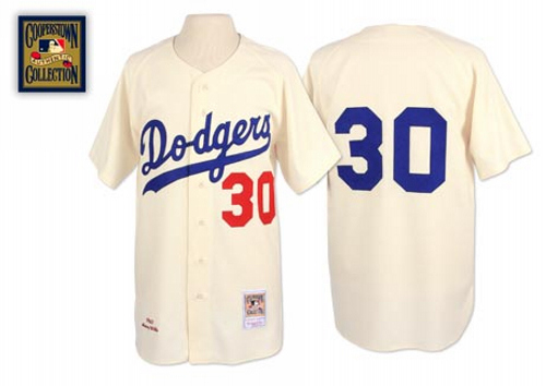 Men's Mitchell and Ness 1962 Los Angeles Dodgers #30 Maury Wills Replica Cream Throwback MLB Jersey