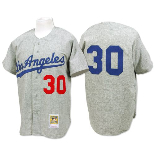 Men's Mitchell and Ness 1963 Los Angeles Dodgers #30 Maury Wills Authentic Grey Throwback MLB Jersey