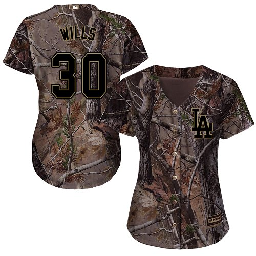 Women's Majestic Los Angeles Dodgers #30 Maury Wills Authentic Camo Realtree Collection Flex Base MLB Jersey