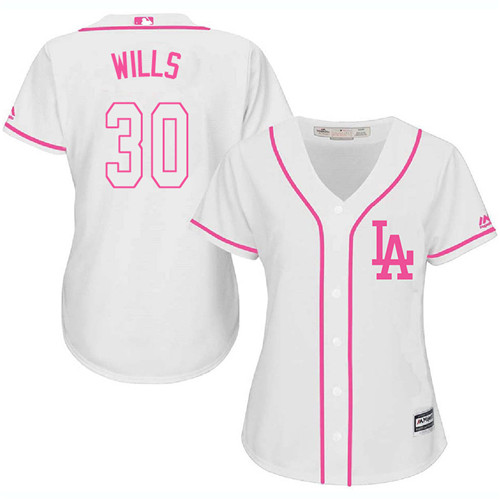Women's Majestic Los Angeles Dodgers #30 Maury Wills Authentic White Fashion Cool Base MLB Jersey