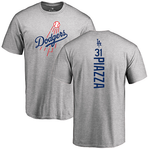 MLB Nike Los Angeles Dodgers #31 Mike Piazza Ash Backer T-Shirt