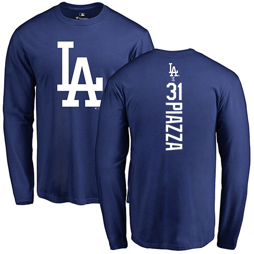 MLB Nike Los Angeles Dodgers #31 Mike Piazza Royal Blue Backer Long Sleeve T-Shirt