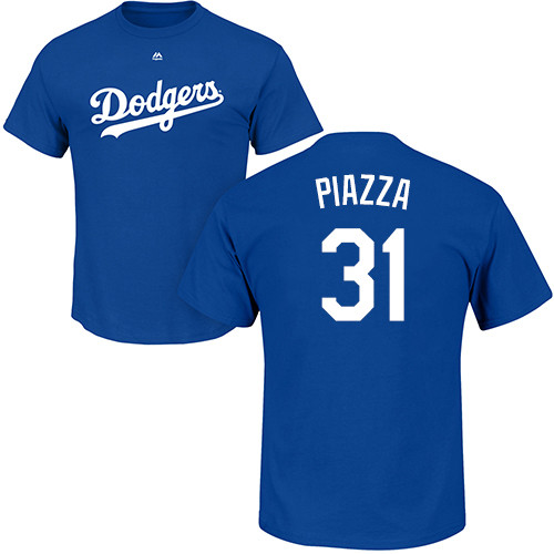 MLB Nike Los Angeles Dodgers #31 Mike Piazza Royal Blue Name & Number T-Shirt