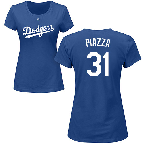 MLB Women's Nike Los Angeles Dodgers #31 Mike Piazza Royal Blue Name & Number T-Shirt