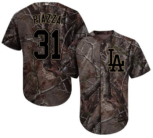 Men's Majestic Los Angeles Dodgers #31 Mike Piazza Authentic Camo Realtree Collection Flex Base MLB Jersey