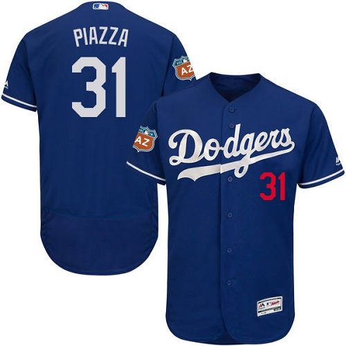 Men's Majestic Los Angeles Dodgers #31 Mike Piazza Authentic Royal Blue Alternate Cool Base MLB Jersey