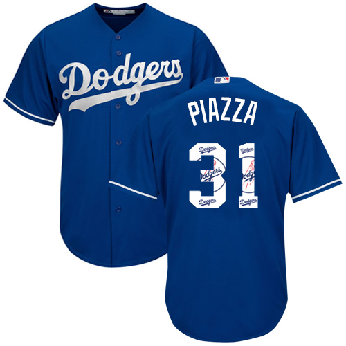 Men's Majestic Los Angeles Dodgers #31 Mike Piazza Authentic Royal Blue Team Logo Fashion Cool Base MLB Jersey