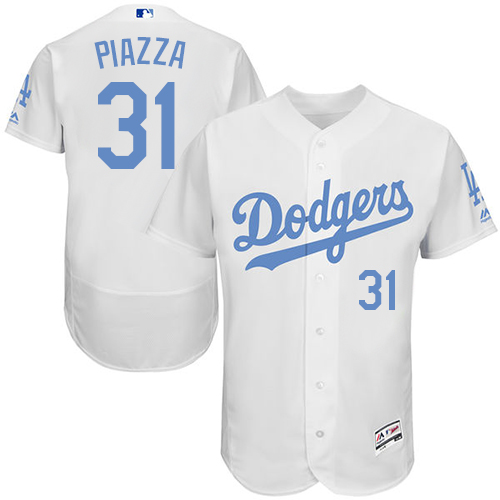 Men's Majestic Los Angeles Dodgers #31 Mike Piazza Authentic White 2016 Father's Day Fashion Flex Base MLB Jersey
