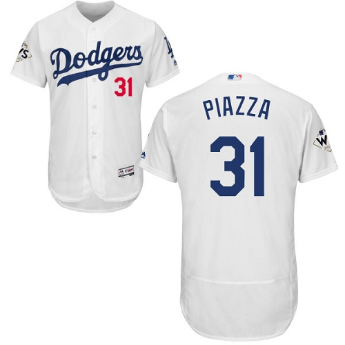 Men's Majestic Los Angeles Dodgers #31 Mike Piazza Authentic White Home 2017 World Series Bound Flex Base MLB Jersey