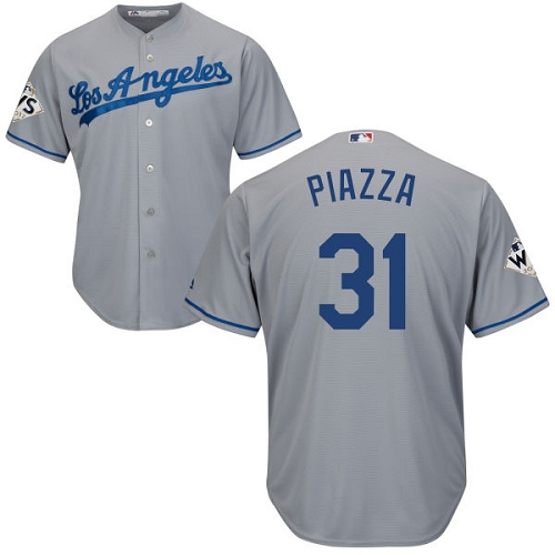 Men's Majestic Los Angeles Dodgers #31 Mike Piazza Replica Grey Road 2017 World Series Bound Cool Base MLB Jersey
