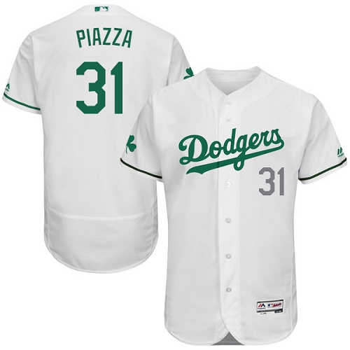 Men's Majestic Los Angeles Dodgers #31 Mike Piazza White Celtic Flexbase Authentic Collection MLB Jersey
