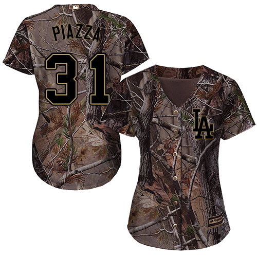 Women's Majestic Los Angeles Dodgers #31 Mike Piazza Authentic Camo Realtree Collection Flex Base MLB Jersey