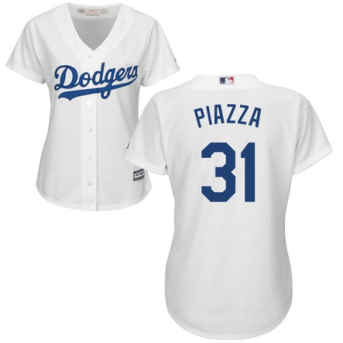 Women's Majestic Los Angeles Dodgers #31 Mike Piazza Authentic White Home Cool Base MLB Jersey