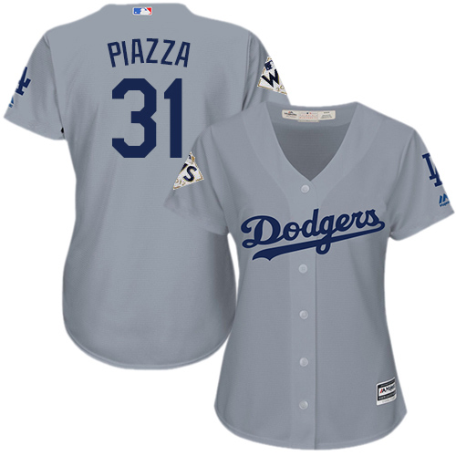 Women's Majestic Los Angeles Dodgers #31 Mike Piazza Replica Grey Road 2017 World Series Bound Cool Base MLB Jersey