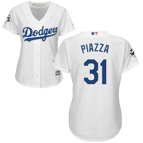 Women's Majestic Los Angeles Dodgers #31 Mike Piazza Replica White Home 2017 World Series Bound Cool Base MLB Jersey