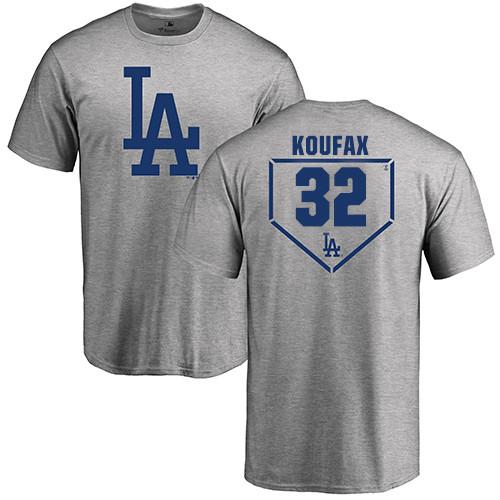 MLB Nike Los Angeles Dodgers #32 Sandy Koufax Gray RBI T-Shirt
