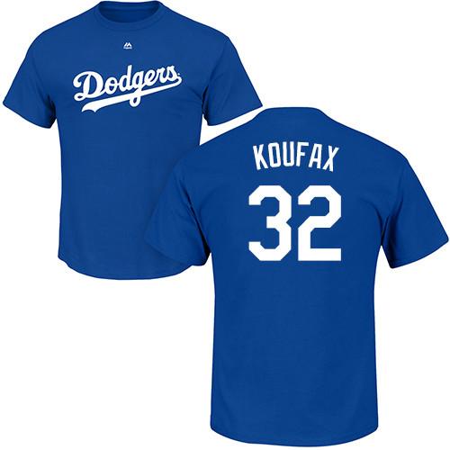 MLB Nike Los Angeles Dodgers #32 Sandy Koufax Royal Blue Name & Number T-Shirt