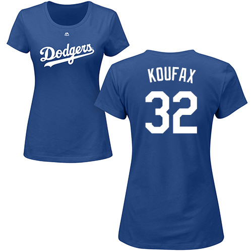 MLB Women's Nike Los Angeles Dodgers #32 Sandy Koufax Royal Blue Name & Number T-Shirt