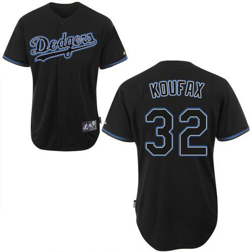Men's Majestic Los Angeles Dodgers #32 Sandy Koufax Authentic Black Fashion MLB Jersey