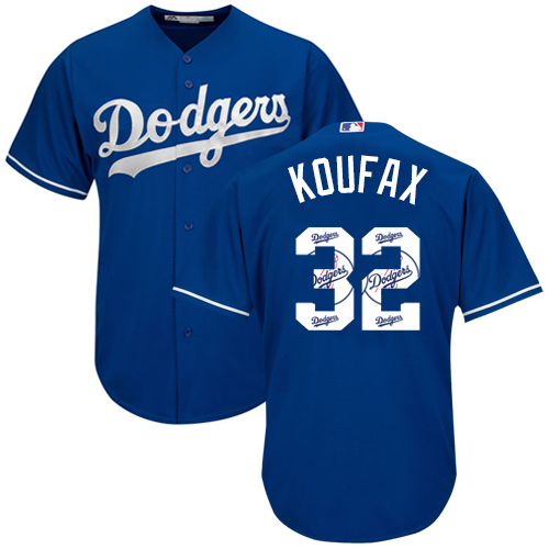 Men's Majestic Los Angeles Dodgers #32 Sandy Koufax Authentic Royal Blue Team Logo Fashion Cool Base MLB Jersey