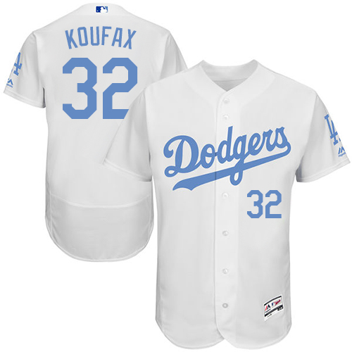 Men's Majestic Los Angeles Dodgers #32 Sandy Koufax Authentic White 2016 Father's Day Fashion Flex Base MLB Jersey