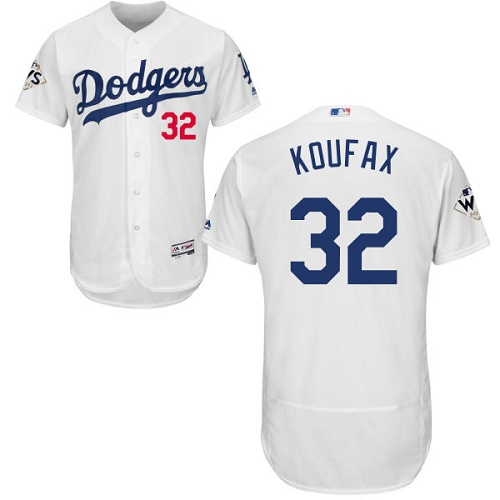 Men's Majestic Los Angeles Dodgers #32 Sandy Koufax Authentic White Home 2017 World Series Bound Flex Base MLB Jersey