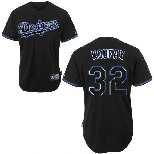 Men's Majestic Los Angeles Dodgers #32 Sandy Koufax Replica Black Fashion MLB Jersey