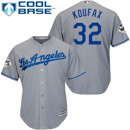 Men's Majestic Los Angeles Dodgers #32 Sandy Koufax Replica Grey Road 2017 World Series Bound Cool Base MLB Jersey