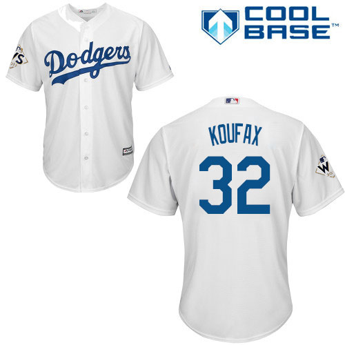 Men's Majestic Los Angeles Dodgers #32 Sandy Koufax Replica White Home 2017 World Series Bound Cool Base MLB Jersey