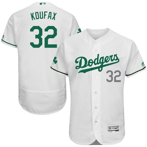 Men's Majestic Los Angeles Dodgers #32 Sandy Koufax White Celtic Flexbase Authentic Collection MLB Jersey