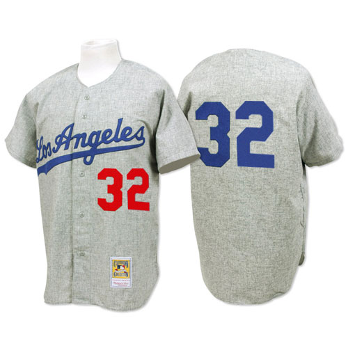 Men's Mitchell and Ness 1963 Los Angeles Dodgers #32 Sandy Koufax Replica Grey Throwback MLB Jersey