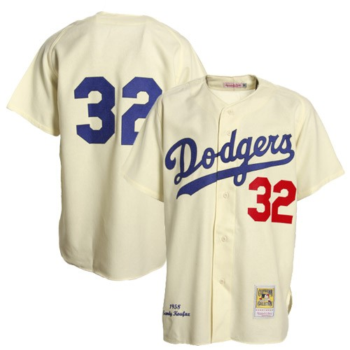 Men's Mitchell and Ness Los Angeles Dodgers #32 Sandy Koufax Replica Cream Throwback MLB Jersey