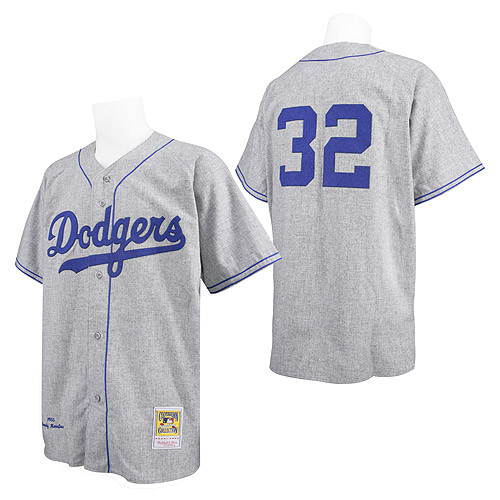 Men's Mitchell and Ness Los Angeles Dodgers #32 Sandy Koufax Replica Grey Throwback MLB Jersey