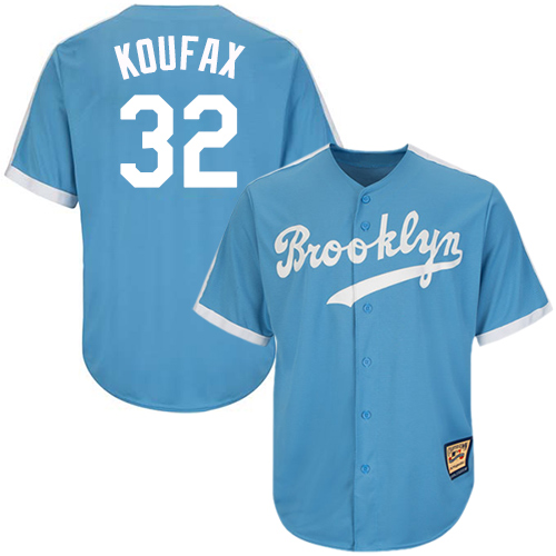 Men's Mitchell and Ness Los Angeles Dodgers #32 Sandy Koufax Replica Light Blue Throwback MLB Jersey