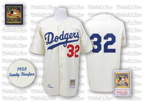 Men's Mitchell and Ness Los Angeles Dodgers #32 Sandy Koufax Replica White Throwback MLB Jersey