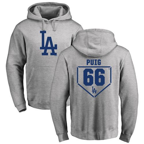 MLB Nike Los Angeles Dodgers #66 Yasiel Puig Gray RBI Pullover Hoodie