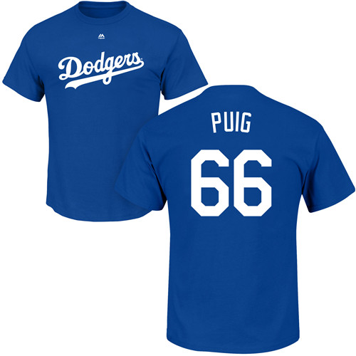 MLB Nike Los Angeles Dodgers #66 Yasiel Puig Royal Blue Name & Number T-Shirt