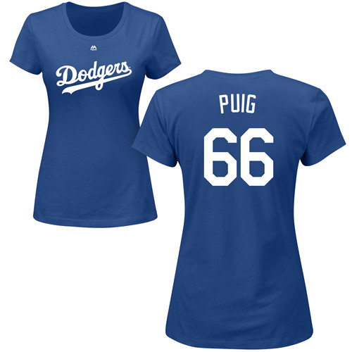 MLB Women's Nike Los Angeles Dodgers #66 Yasiel Puig Royal Blue Name & Number T-Shirt