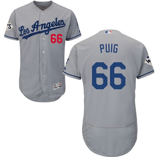 Men's Majestic Los Angeles Dodgers #66 Yasiel Puig Authentic Grey Road 2017 World Series Bound Flex Base MLB Jersey