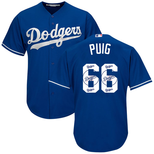 Men's Majestic Los Angeles Dodgers #66 Yasiel Puig Authentic Royal Blue Team Logo Fashion Cool Base MLB Jersey
