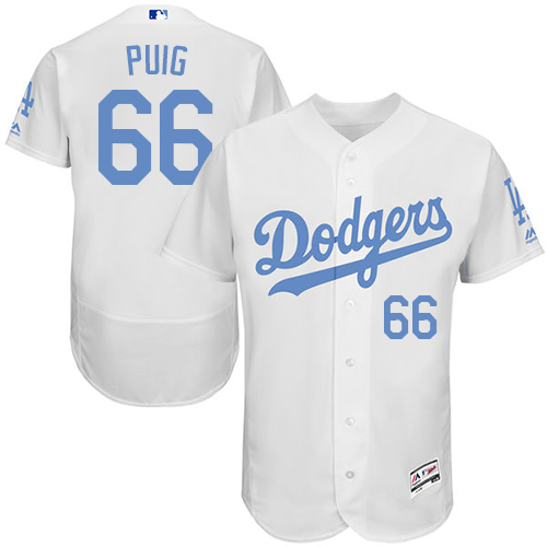 Men's Majestic Los Angeles Dodgers #66 Yasiel Puig Authentic White 2016 Father's Day Fashion Flex Base MLB Jersey