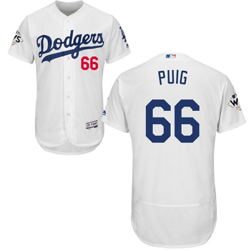 Men's Majestic Los Angeles Dodgers #66 Yasiel Puig Authentic White Home 2017 World Series Bound Flex Base MLB Jersey