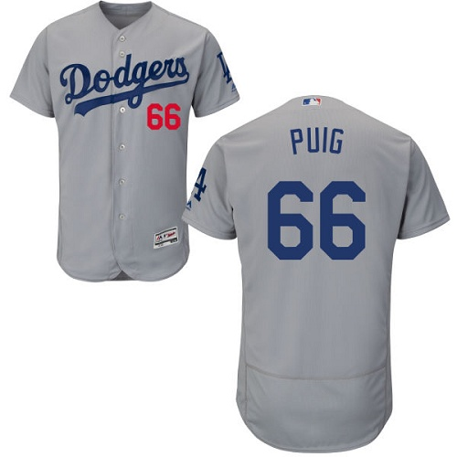 Men's Majestic Los Angeles Dodgers #66 Yasiel Puig Gray Alternate Road Flexbase Authentic Collection MLB Jersey