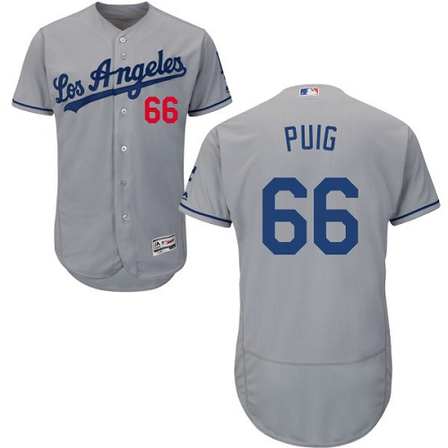 Men's Majestic Los Angeles Dodgers #66 Yasiel Puig Grey Flexbase Authentic Collection MLB Jersey