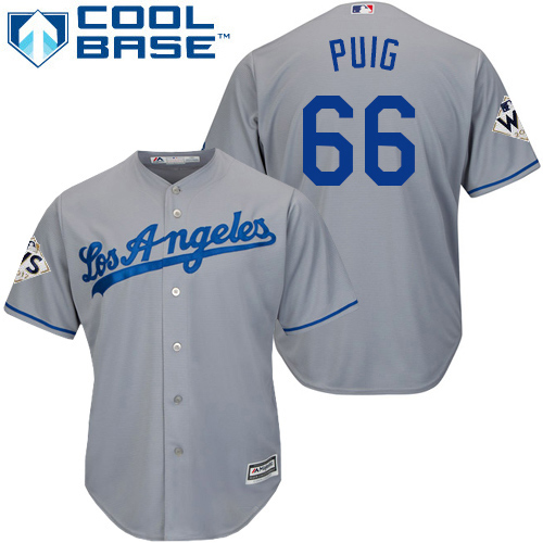 Men's Majestic Los Angeles Dodgers #66 Yasiel Puig Replica Grey Road 2017 World Series Bound Cool Base MLB Jersey