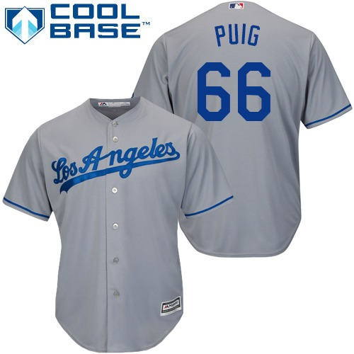 Men's Majestic Los Angeles Dodgers #66 Yasiel Puig Replica Grey Road Cool Base MLB Jersey