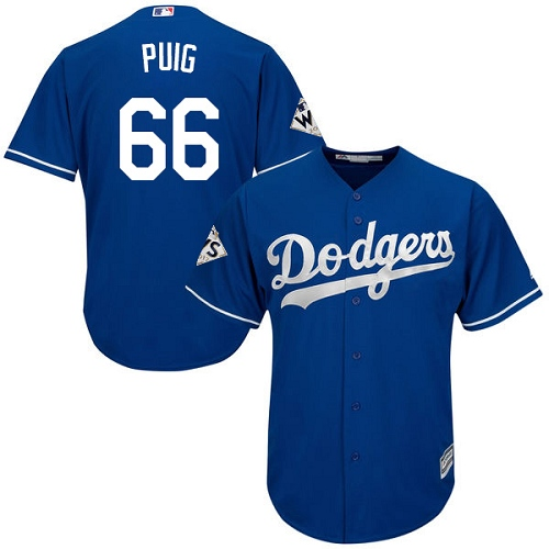 Men's Majestic Los Angeles Dodgers #66 Yasiel Puig Replica Royal Blue Alternate 2017 World Series Bound Cool Base MLB Jersey