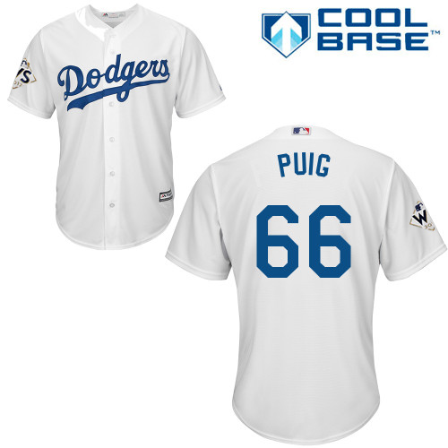 Men's Majestic Los Angeles Dodgers #66 Yasiel Puig Replica White Home 2017 World Series Bound Cool Base MLB Jersey