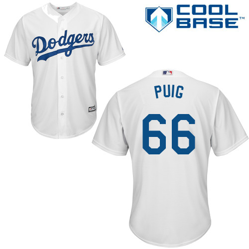 Men's Majestic Los Angeles Dodgers #66 Yasiel Puig Replica White Home Cool Base MLB Jersey